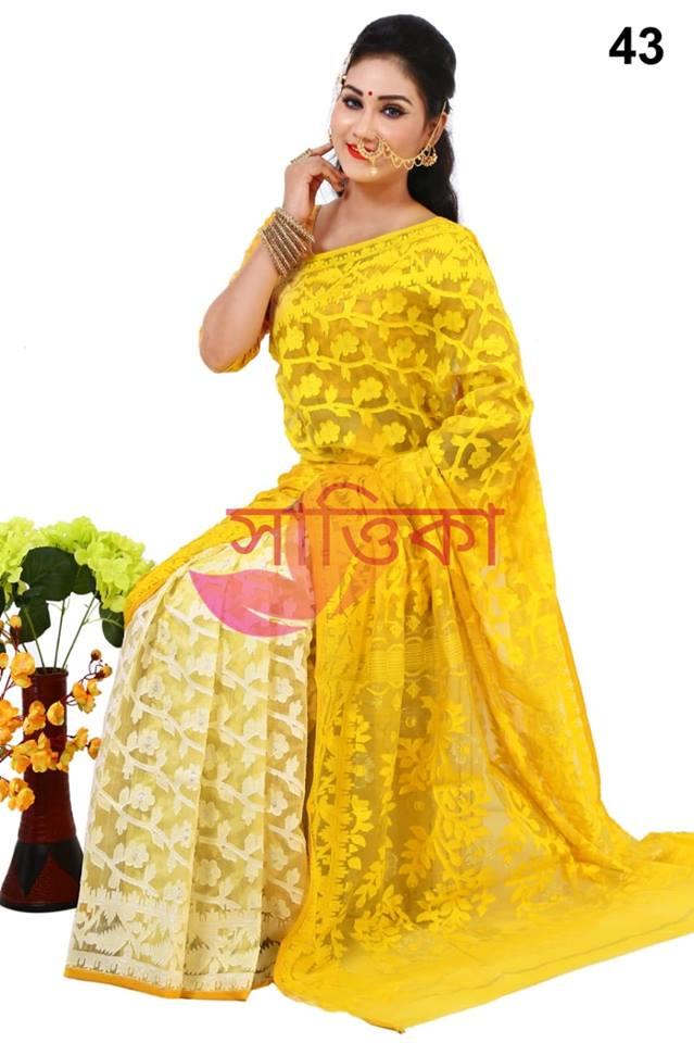 9dca8c84a81303 Tangail Half Silk Jamdani Saree - Beshi Deshi
